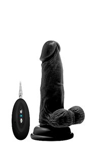 "Vibrating Realistic Cock - 6"" - With Scrotum - Black"