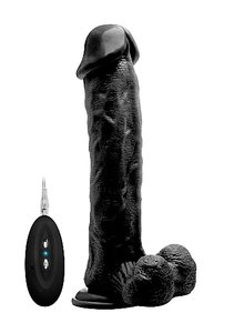 "Vibrating Realistic Cock - 11"" - With Scrotum - Black"